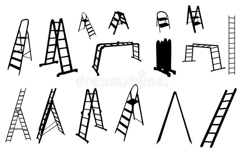 Set Of Ladder Silhouette. Vector Illustration. Stock