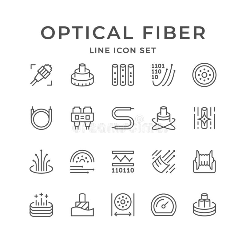 Optical Fiber Flat Glyph Icons. Network Connection