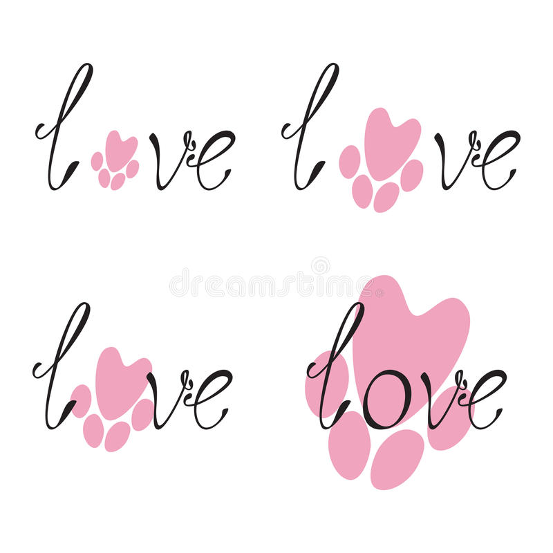 Download Set Of Love Lettering And Paw Print Stock Vector - Image ...