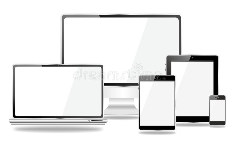 Set Of Mobile Devices, Smartphone, Tablet Pc, Laptop Stock