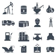 Set Of Oil And Gas Grey Icons Petroleum Industry Stock