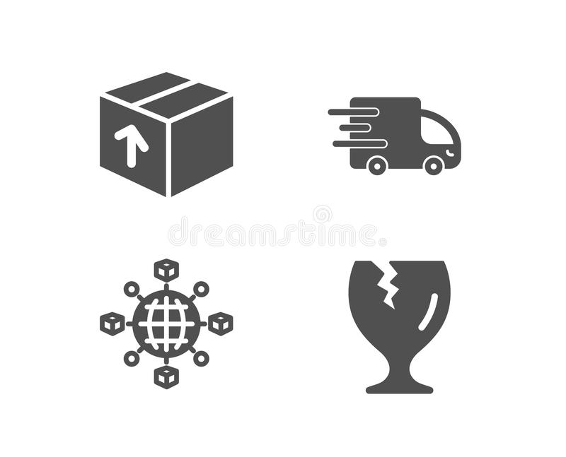 Package, Truck Delivery And Logistics Network Icons