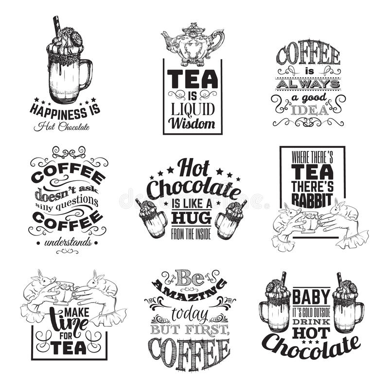 Set Of Quote Typographical Background About Hot Chocolate