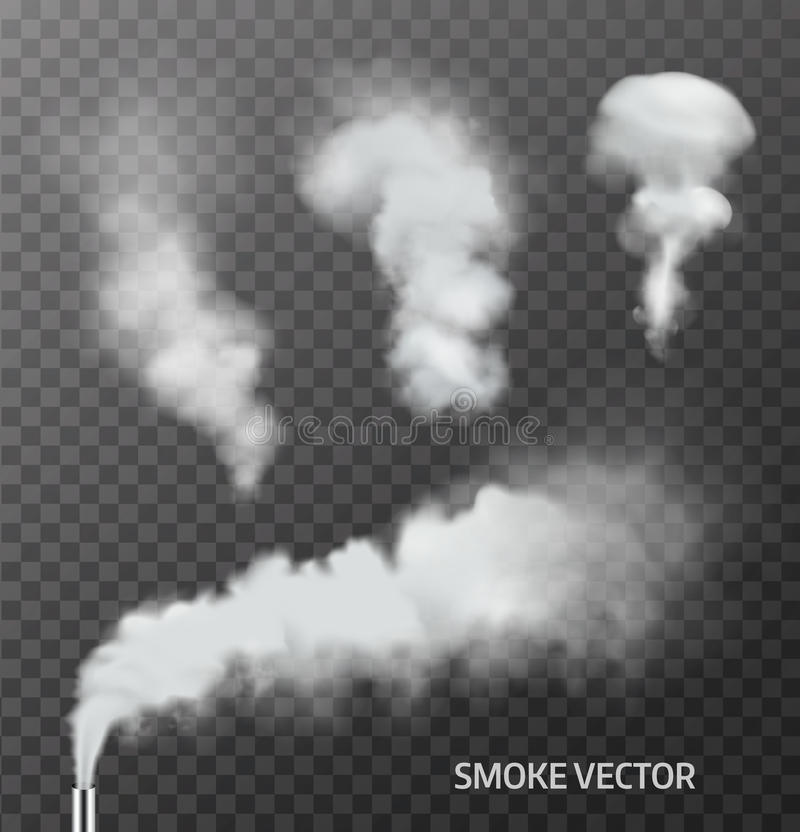 Set Of Realistic Smoke Steam On Transparent Background Vector Stock Vector  Image 72000750