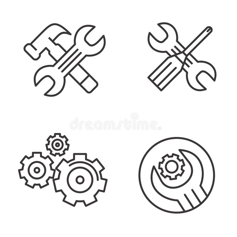 Set Of Automotive Engineering Icon Design For Industry