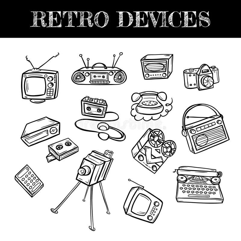 Vintage Retro Old Typewriter Collection. Hand Drawn Stock
