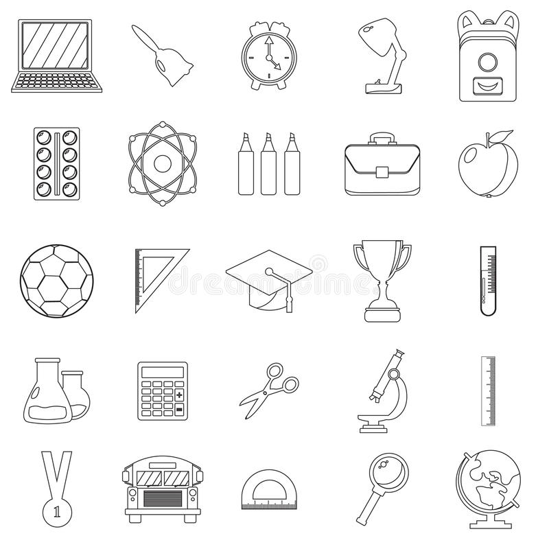 School And Education Line Icons With Outline Style Stock