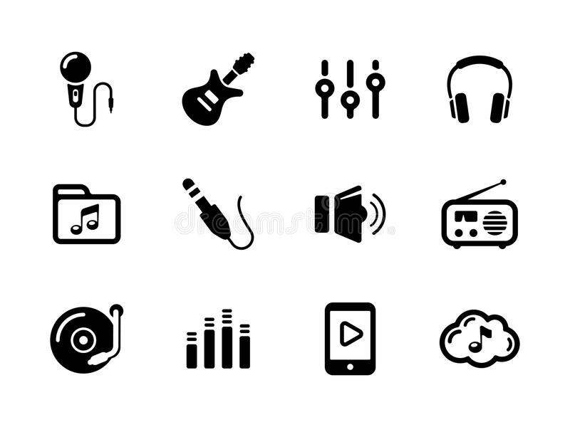 Music, Microphone, Jack And Guitar Stock Vector