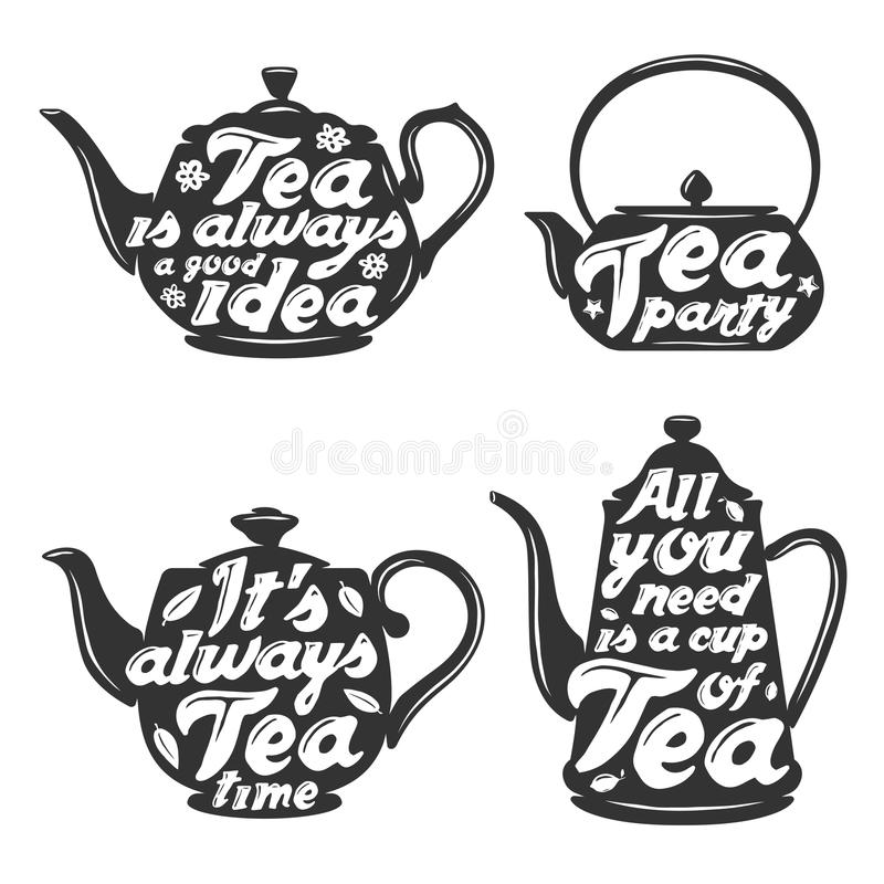 Set Of Tea Pot Silhouettes With Quotes. Stock Vector