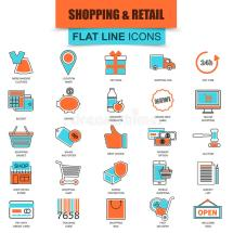 Set Of Thin Line Icons -commerce Internet Shopping Stock