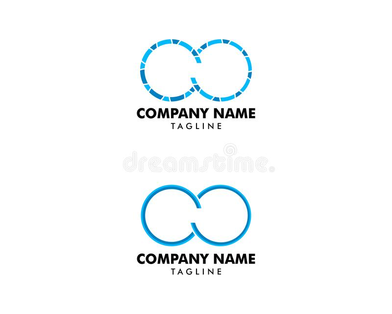 Two Circle Rings Locked Logo Design Vector Template Stock