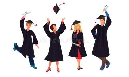 graduate cartoon students student vector poses various flat different