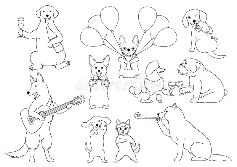 Party dogs group stock vector. Illustration of cheers