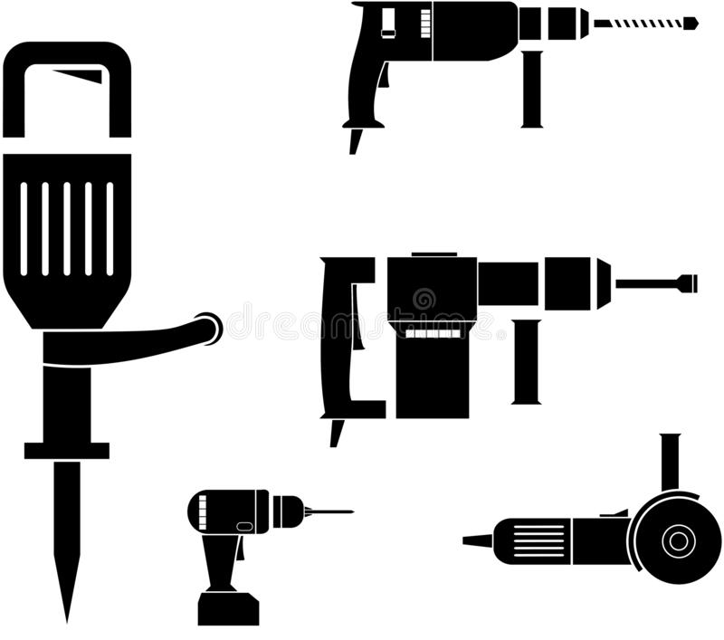 Power tools vector stock vector. Illustration of battery