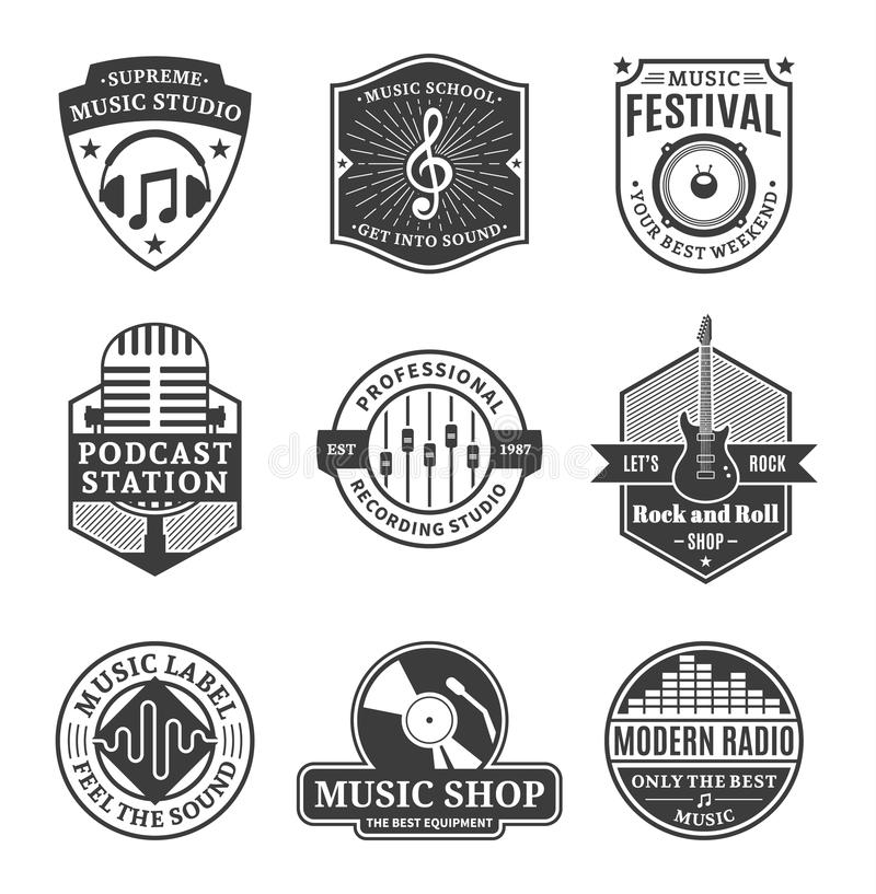 Set Of Vector Music Logo, Icons And Design Elements Stock