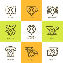 Set Of Vector Simple Linear Travel Icons. Map Symbols