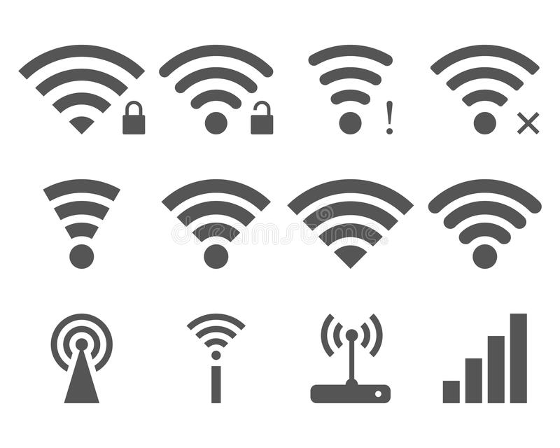 Set Of Vector Wi-Fi And Wireless Icons Stock Vector