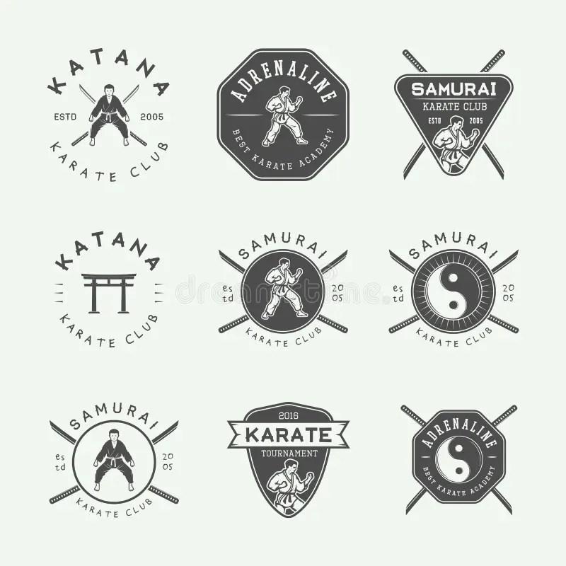 Set Of Vintage Karate Or Martial Arts Logo, Emblem, Badge
