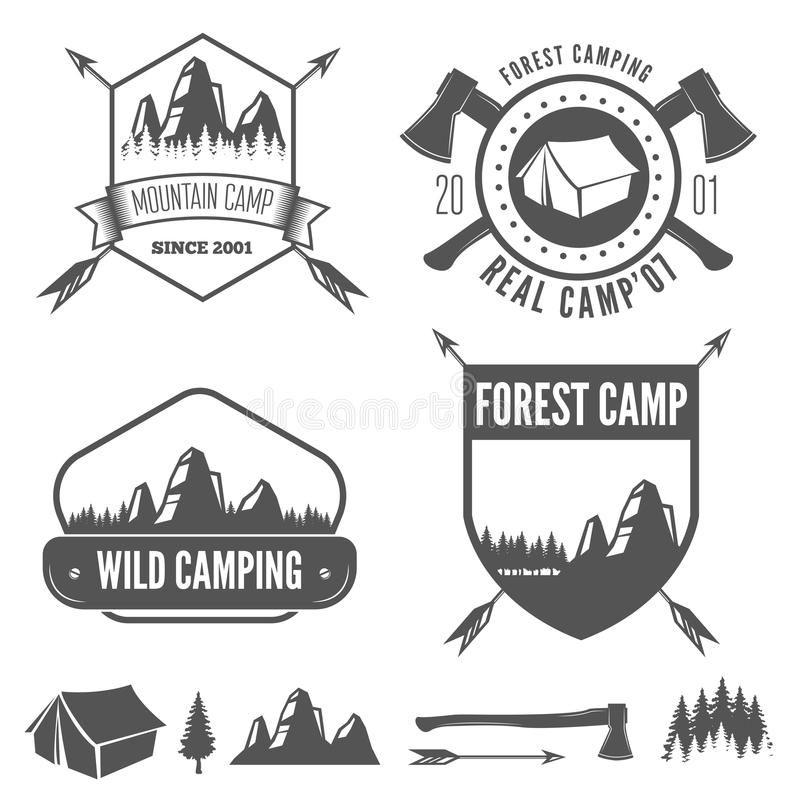 Set Of Vintage Mountains Or Forest Camp Badges And Stock