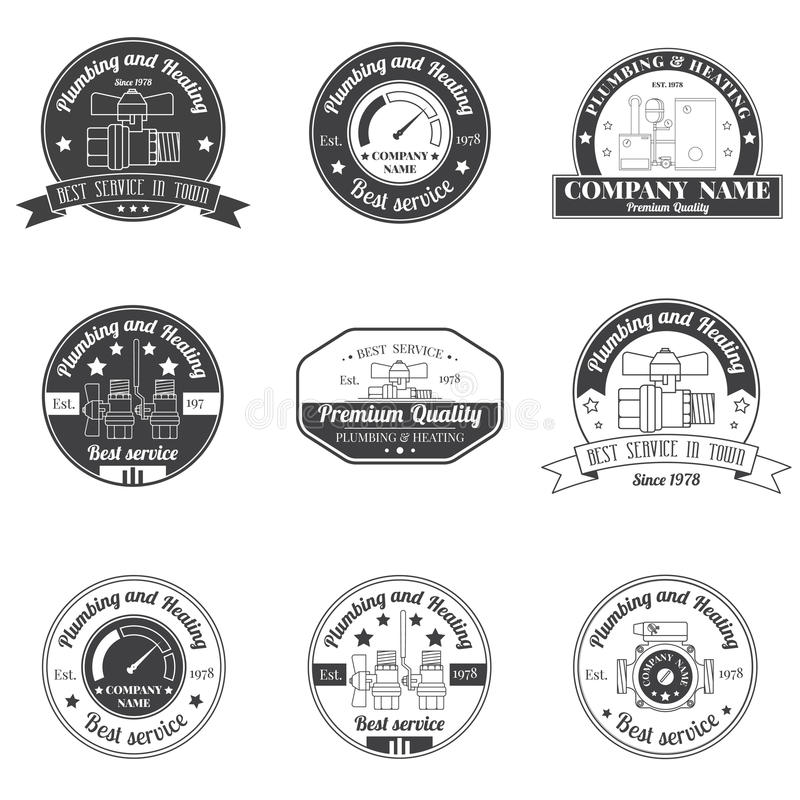 Set Vintage Plumbing, Heating Services Logo, Labels And