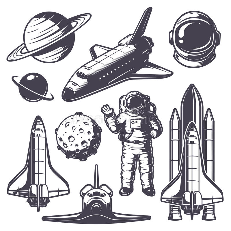 Set Of Vintage Space And Astronaut Badges Stock Vector