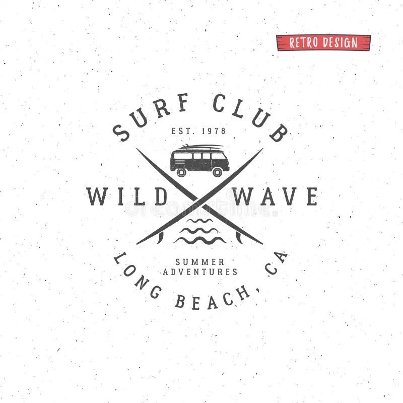 Set Of Vintage Surfing Graphics And Emblem For Web Design