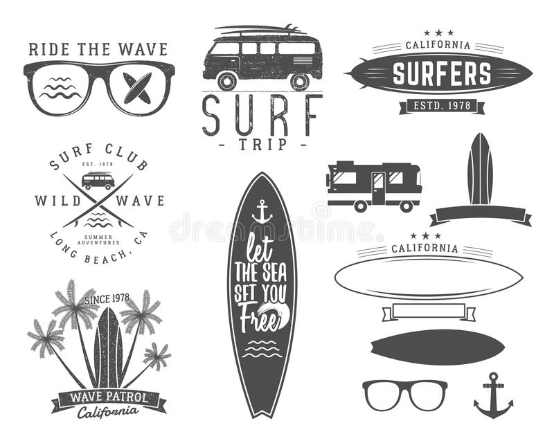 Set Of Vintage Surfing Graphics And Emblems For Web Design