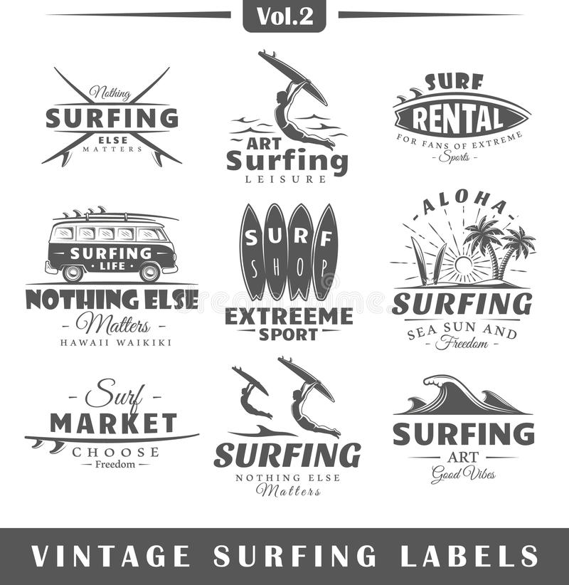 Vintage Surfing Stock Illustrations
