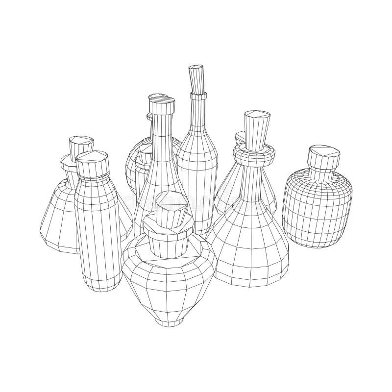 Wireframe bottles vector stock vector. Illustration of
