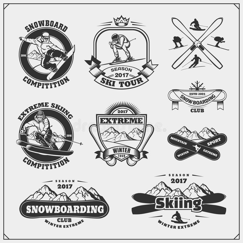Extreme Sports Icons Cliparts Set 1 Stock Vector