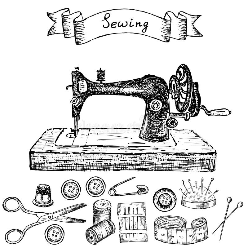 Sewing machine stock vector. Illustration of thimble