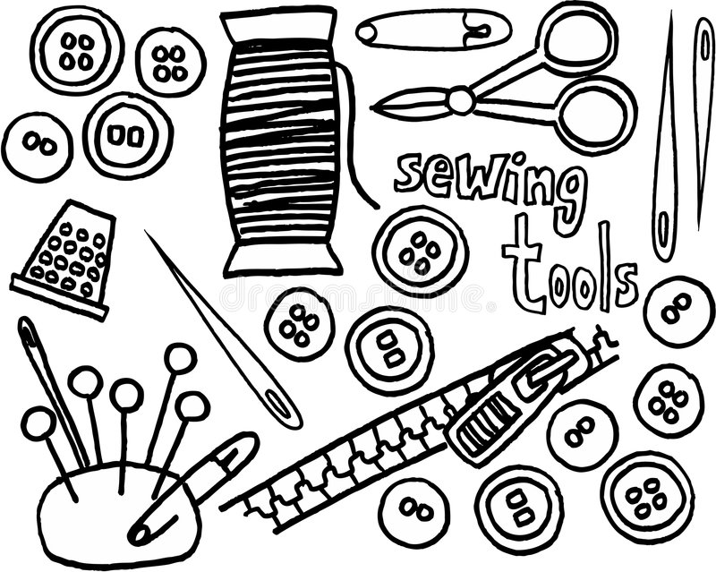Sewing tools stock vector. Image of thumb, illustrated