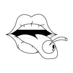 Retro Lips Makeup Cartoon In Black And White Stock Vector Illustration of seductive comic: 155763927