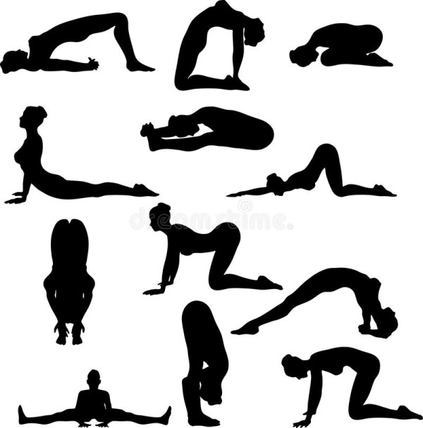 Yoga Silouettes Royalty Free Stock - 4330589