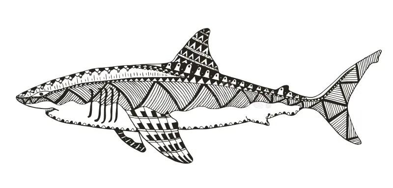 Shark Zentangle Stylized, Vector, Illustration, Pattern