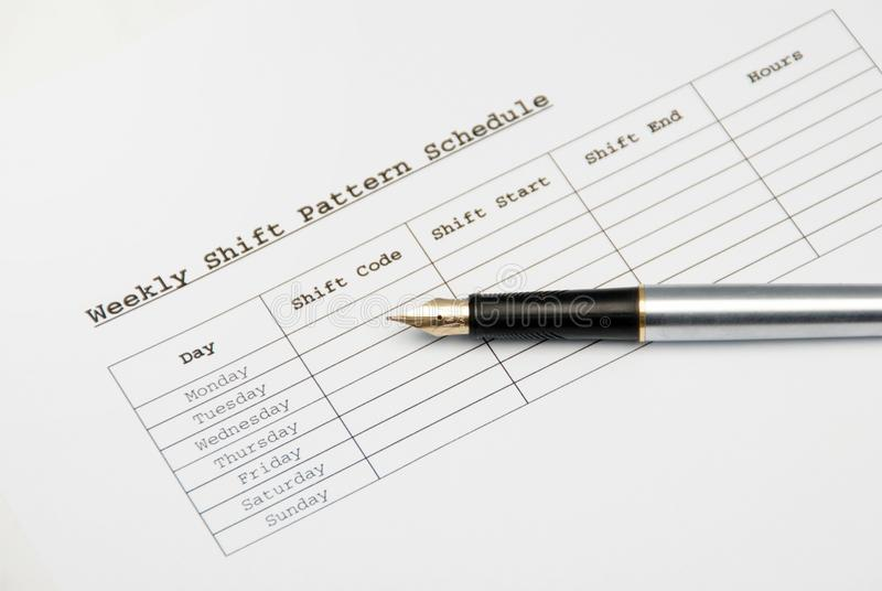 Shift schedule stock photo. Image of claim, week, plan