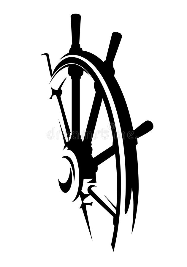 Ship Helm Black And White Vector Design Stock Vector