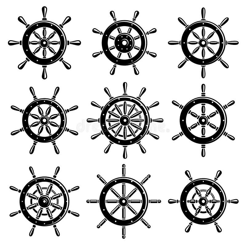 Ship Steering Wheel Set. Vector Stock Vector