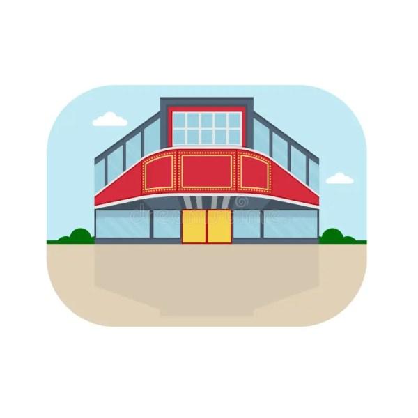 Shopping Center Cinema Facade Stock Vector - Illustration