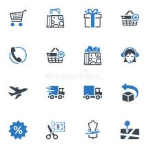 Shopping And -commerce Icons Set 1 - Blue Series Royalty