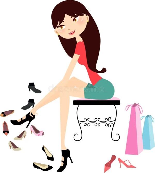 Shopping Girl In Shoe Store Stock Vector - Illustration Of