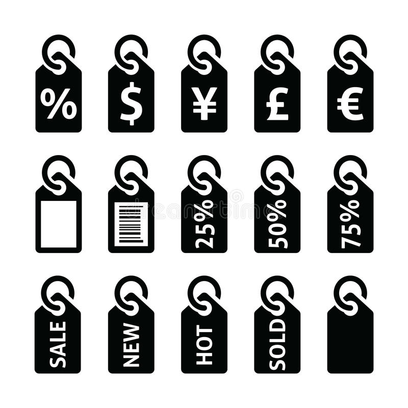 Shopping, Price Tag, Sale Vector Icons Set Stock Vector