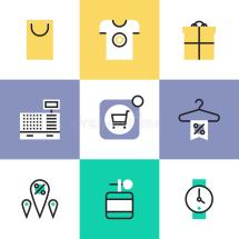 Shopping And Retail Pictogram Icons Set Stock Vector
