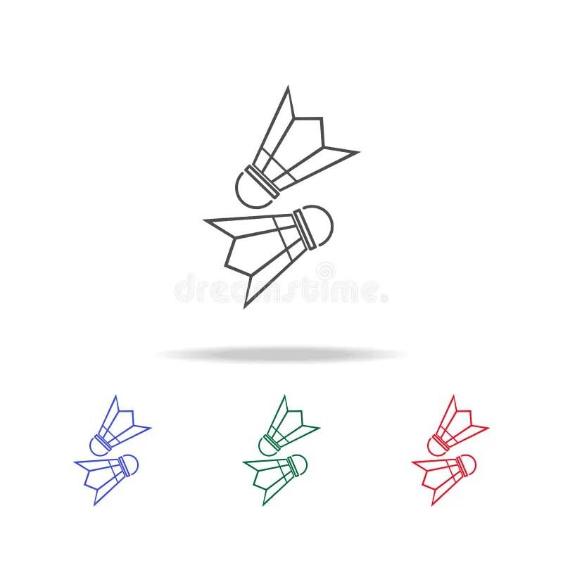 Badminton Multi Color Style Icon. Simple Thin Line