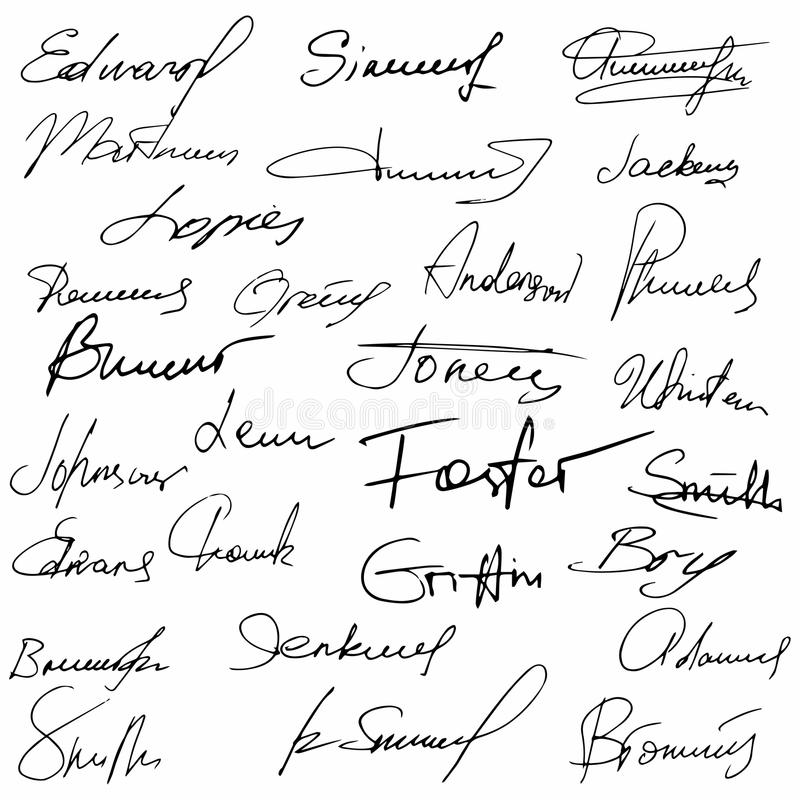 Collection Of Vector Signatures Fictitious Autograph