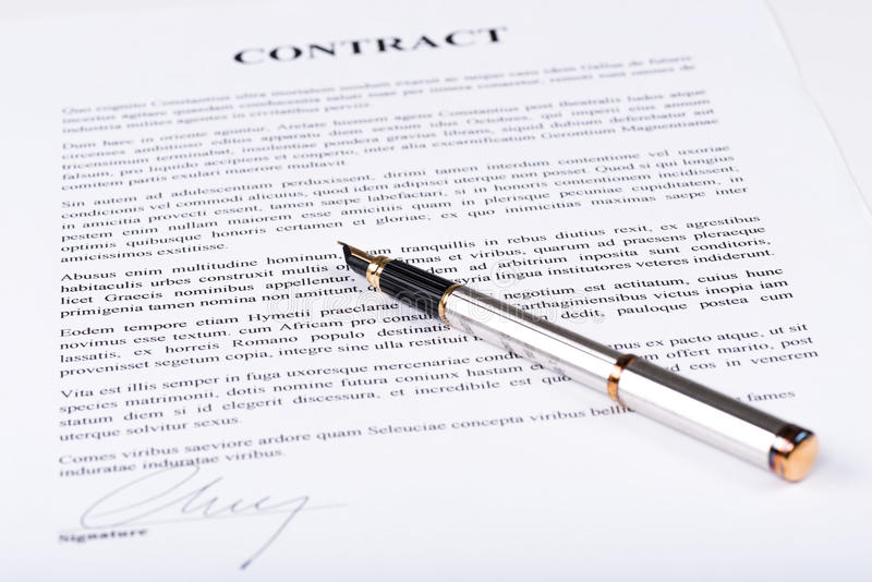 Signed contract stock photo. Image of form, text