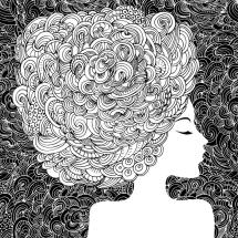 Silhouette Of Beautiful Woman With Curly Hair