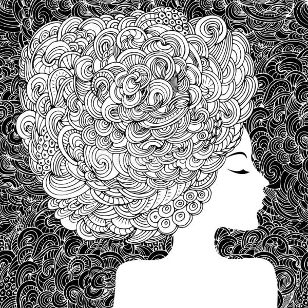 Silhouette Of Beautiful Woman With Curly Hair. Monochrome Abstract Ornamental Fashion