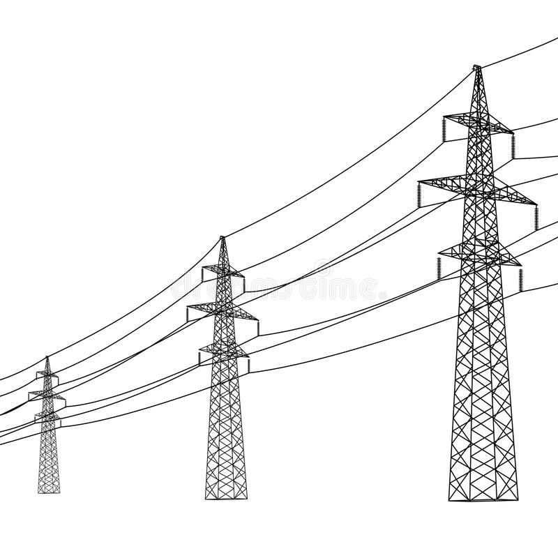 Silhouette Of High Voltage Power Lines. Stock Image