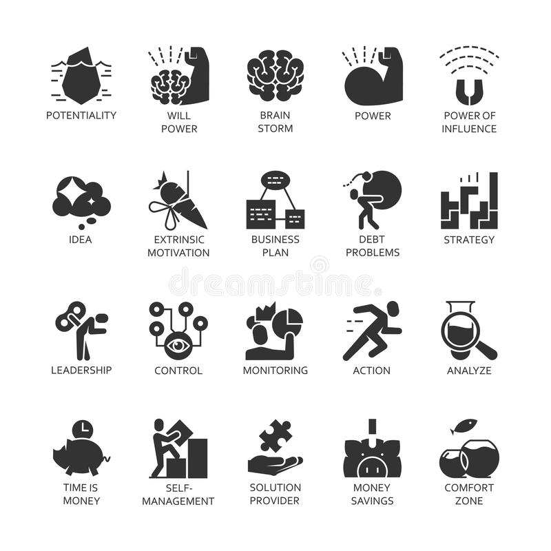 Silhouette Symbol Black Icons Set Business Economic